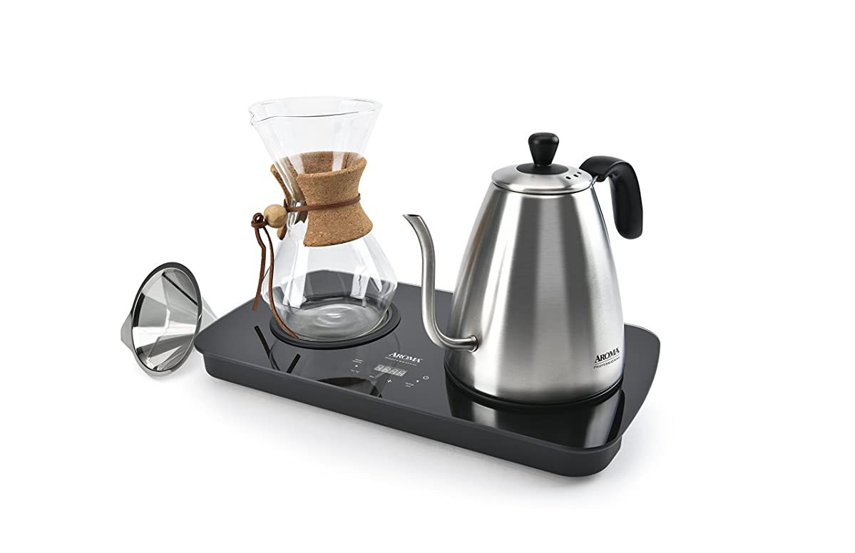 Aroma Housewares ((AWK-2000GD) Professional Digital Pour Over Coffee Maker, 1 L, Stainless Steel