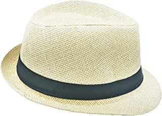 100e7da7029530 List A Banded Straw Fedora Hat for Kids Trilby Gangster Panama Classic  Vintage Short Brim Style