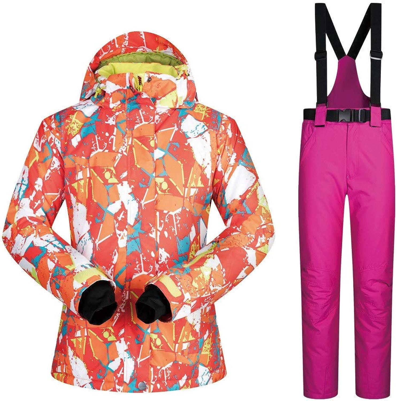 Yzibei Ski jacket Snow suit women's suit warm and windproof waterproof breathable ski suit Windproof and waterproof ski suit (color   pink red pants, Size   XXL)