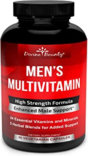 Mens Multivitamin – Daily Multivitamin for Men with Vitamin A C D E K B Complex, Calcium, Magnesium, Selenium, Zinc Plus H...