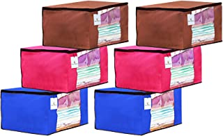 Kuber Industries 6 Piece Non Woven Fabric Saree Cover Set with Transparent Window, Extra Large, Pink,Royal Blue,Dark Brown...