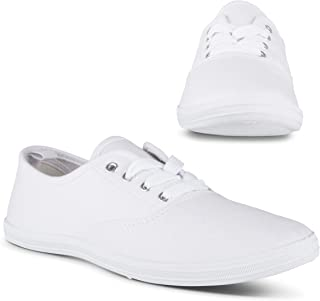 أحذية التنس Twisted للنساء | أحذية رياضية منخفضة الارتفاع برباط لأعلى، طراز Plimsoll كلاسيكي كاجوال، أبيض، 7