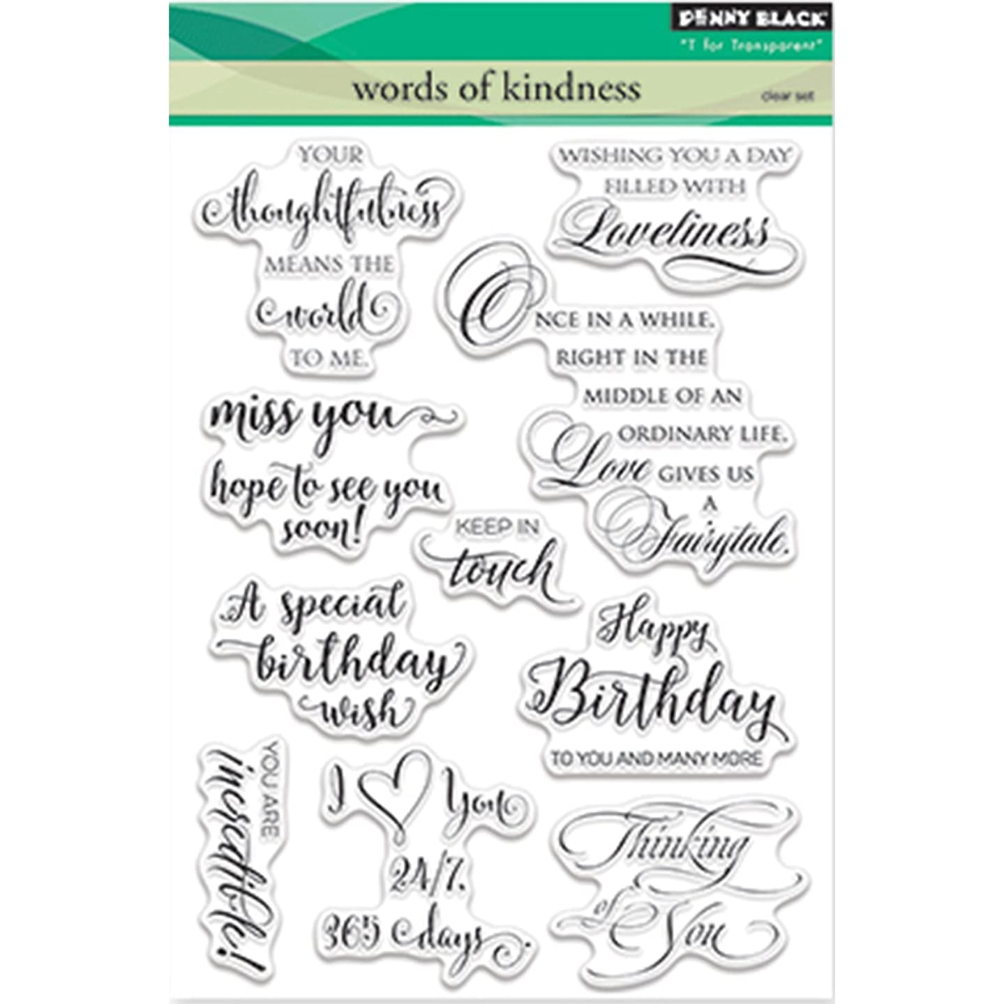 Penny Black Words of Kindness Clear Unmounted Rubber Stamp Set (30-353)