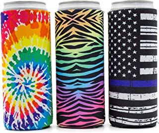 Slim Can Koozie by Party Girl Kim - Neoprene Koozies for 12oz Tall Skinny Cans like Red Bull, White Claw, Slim Beer and Spiked Seltzer Water - Fun for Beach, Outdoor, or just Coozie Can - 3 Pack