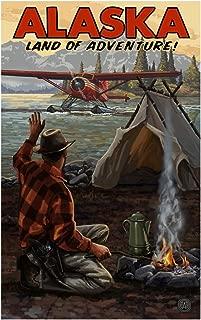 Alaska Land of Adventure Wilderness Arrival Plane Travel Art Print Poster by Paul A. Lanquist (12