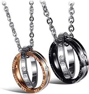 Wedding Anniversary Valentine's Present Couple Necklace ELELIFE His & Hers Matching Set Titanium Stainless Steel lover Pendant