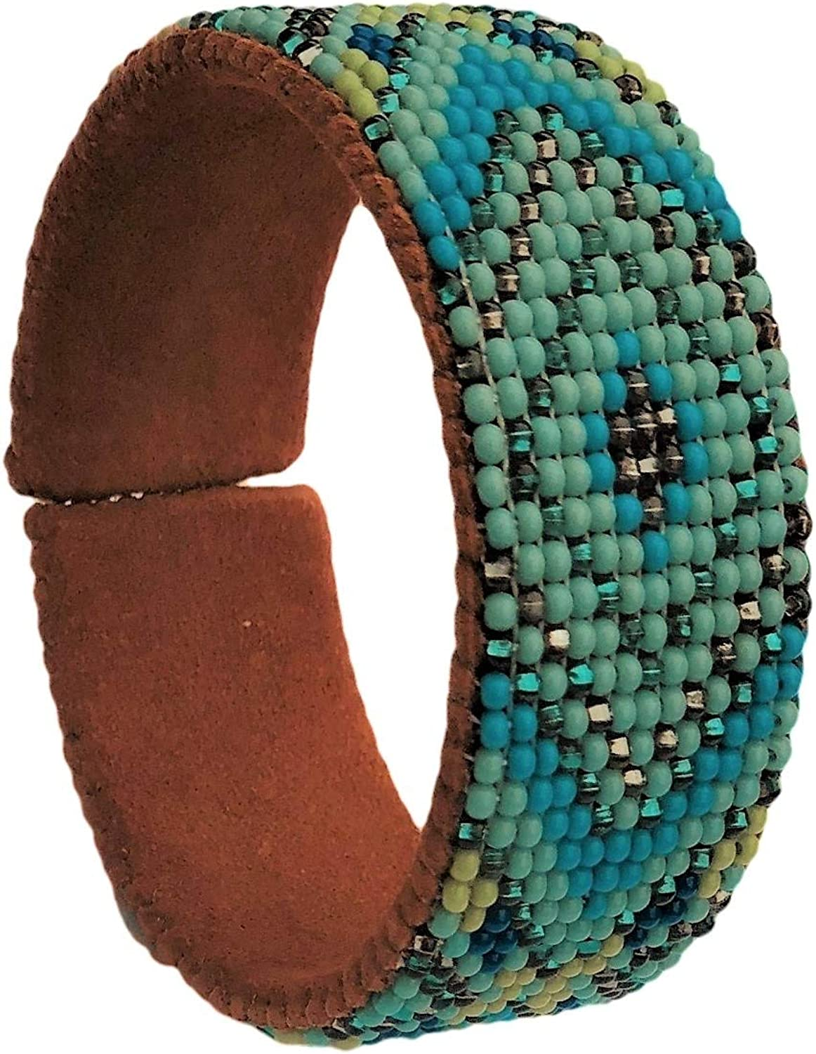 Beaded Cuff Bracelet Turquoise Earth Cowgirl Shabby Chic tones Bargain sale New sales