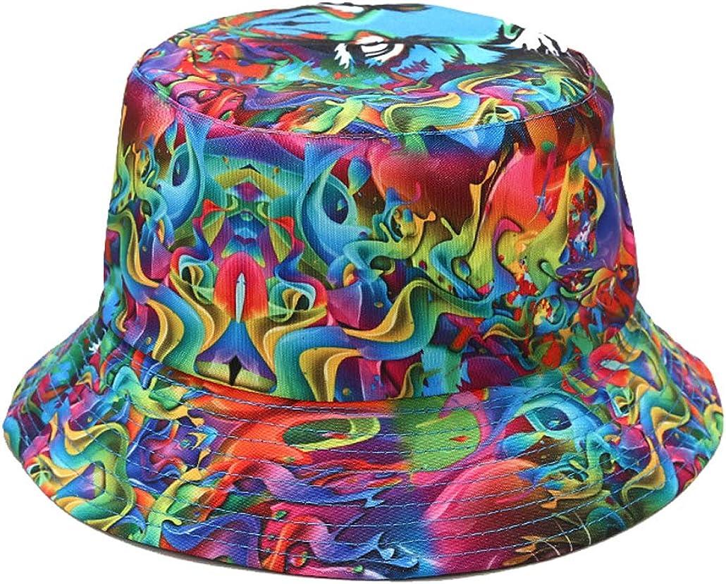 Quanhaigou Reversible Printed Bucket Sun Hat, Packable Double-Side-Wear Fisherman Outdoor Cap Summer Beach Hats Many Patterns