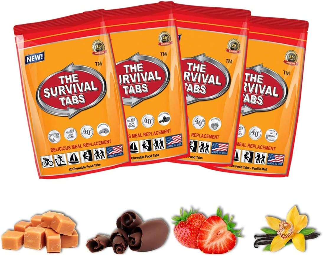 Emergency Food Survival Protein Substitute MRE Tabs - Vitality Sciences Survival tabs (4 Day Supply) (48 Tablets/Mixed Flavor) - -
