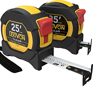 LEXIVON [2-Pack] 25Ft/7.5m DuaLock Tape Measure | 1-Inch Wide Blade with Nylon Coating, Matte Finish White & Yellow Dual Sided Rule Print | Ft/Inch/Fractions/Metric (LX-202)
