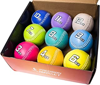 Precision Impact Weighted Baseballs: Heavy Weighted Baseball Set for Throwing/Pitching Training