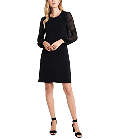 CeCe Floral Embroidered Sleeve Knit Dress (Rich Black) Women