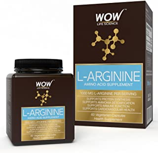 WOW L-Arginine Amino Acid Supplement 1000mg - 60 Vegetarian Capsules