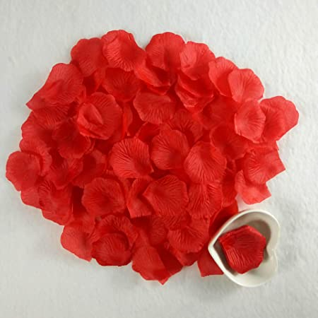 Jrancc Petalo di Rosa Petali Artificiali 1000 Pezzi Rossi Wedding Dried Petals Engagement Romantic Celebration Party Decoration