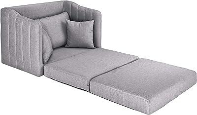 Casa AndreaMilano Modern Soft Linen Fabric Modular/Convertible Sleeper Sofa, Light Grey
