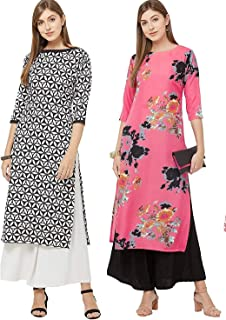 GoSriKi Women's Multicolor Printed Straight Kurta Pack of 02(Black-CHAKRI & Dabba-Pink)