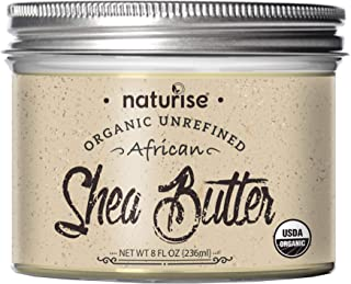 Naturise Shea Butter Raw Organic Unrefined Ivory 8 fl oz, Highest Grade African Shea Butter, Great for DIY Skincare Produc...
