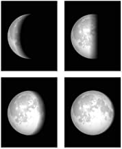Summit Designs Moon Phases Wall Art Decor Prints - Set of 4 (8x10) Unframed Poster Photos - Space Planet Bedroom