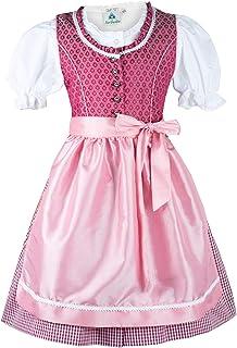 Isar-Trachten Kinderdirndl Emilia kurz mit Bluse | Mädchen Dirndl in Beere rosa | Verschluss durch Knöpfe