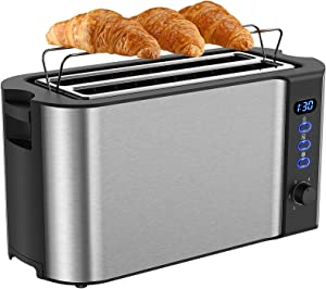 Toaster 4 Slice, Extra-Wide Long Slot Toaster, Countdown Digital Display, Warming Rack of Stainless Steel 2 Slice Toaster, 6 Bread Shade Settings, Single, Reheat, Cancel, Defrost Function, Crumb Tray