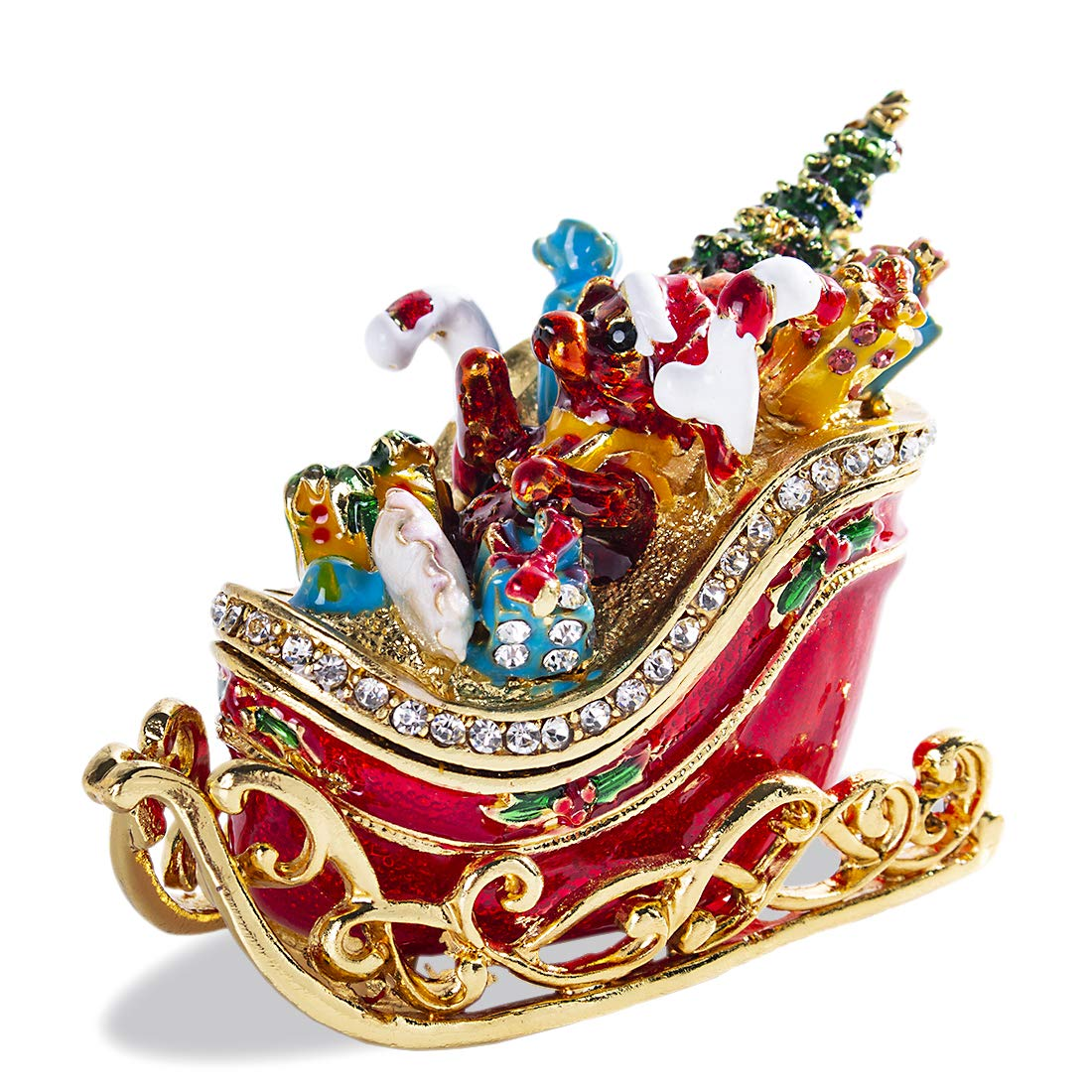 Image of Beautiful Santa Bear Sleigh Jeweled Christmas Box