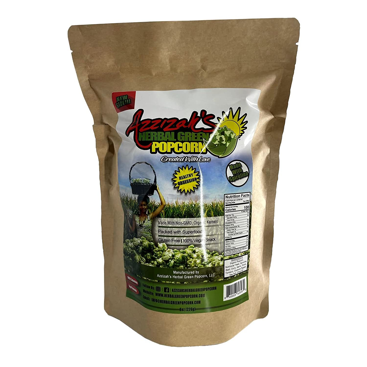 Azzizah's Herbal Green Free Shipping Cheap Bargain Gift Popcorn- Vegan Our shop OFFers the best service N Gourmet Savory-Cheesy
