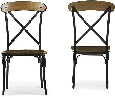 Baxton Studio Broxburn Light Brown Wood and Metal Dining Chair (Set of 2)