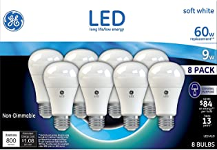GE Lighting LED A19 Light Bulb with Medium Base, 9-Watt, Soft White, 8-Pack, Non-dimmable