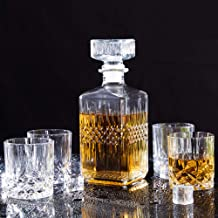 Whisky Decanter and Glasses Set, Premium Crystal Whiskey Decanter 1200ml with 4× 220ml,Tasting Tumblers for Liquor or Scot...