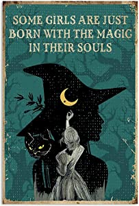 Vintage Halloween Retro Teal Witch Magic Soul Iron Painting Tin Sign Bar Pub Garage Diner Cafe Home Wall Decor Home Decor Art Poster Retro Vintage Metal Tin Sign 8x12 inch