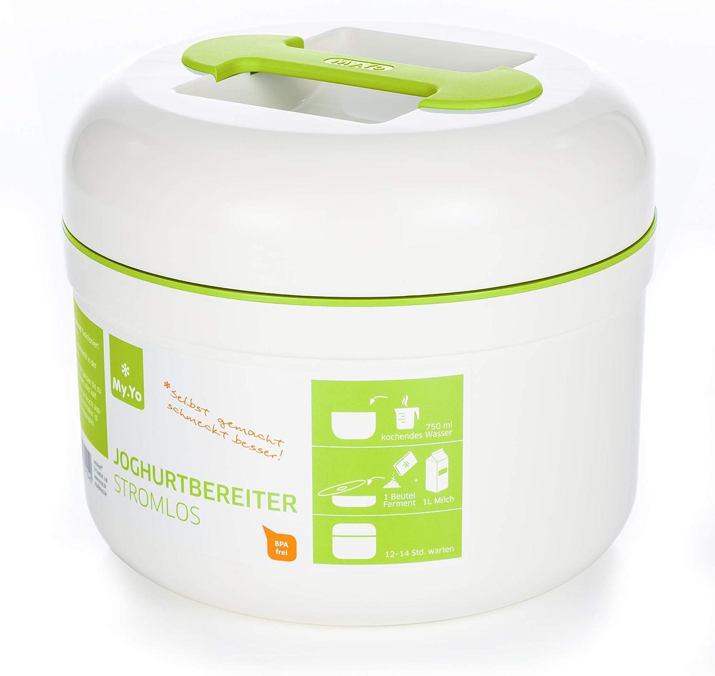 My.Yo - Yogurtera sin electricidad | Color crema/lima | Incluye 2 bolsas de fermentación orgánica.