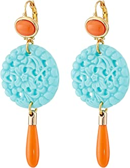7849ECTCP Small Gold and Top with Carved and Drop wire Earrings