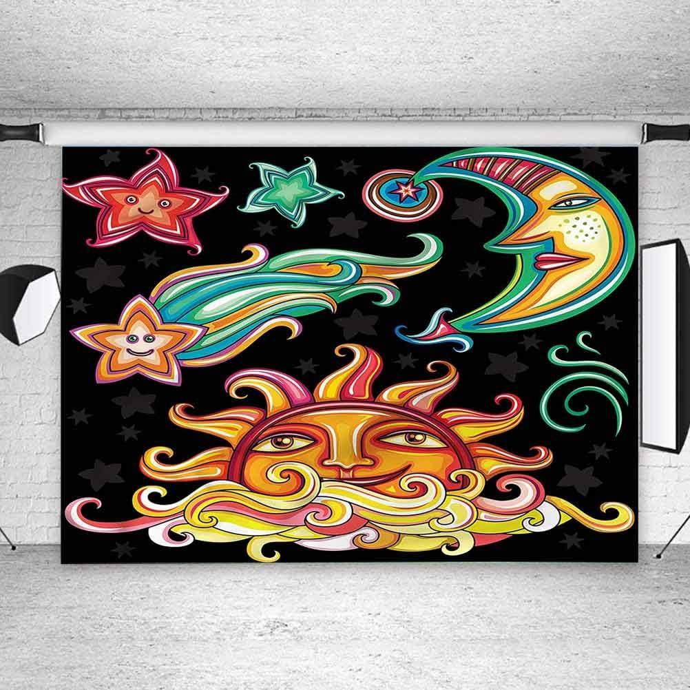 7x7FT Vinyl Photography Backdrop,Birthday,Happy Greeting Stars Swirl Photoshoot Props Photo Background Studio Prop