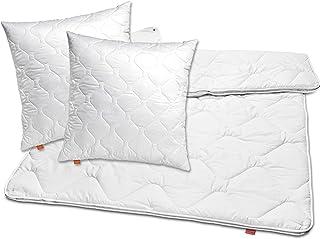 sleepling 196156 Lot de 2 oreillers et Couette 4 Saisons pour Toute l'année 80 x 80 cm + 220 x 240 cm, 100% Microfibre, Blanc
