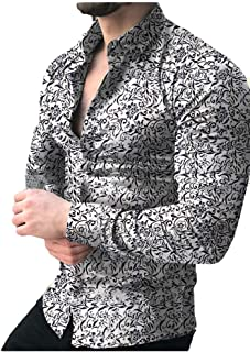 CBTLVSN Men Casual Printed Button Front Top Long Sleeved Fashion Shirts