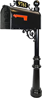 ADDRESSES OF DISTINCTION Avenues Large Mailbox & Post – Black Rust Resistant Metal Mailbox System – Includes Address Plaque, Scroll & Mounting Hardware - Powder Coated Aluminum Base with Ball Finial