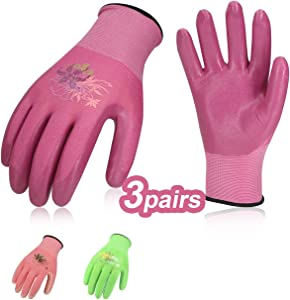 Vgo 3Pairs Ladies' Nitrile Coating Gardening and Work Gloves (Size S, Green & Pink & Purple, NT2110)