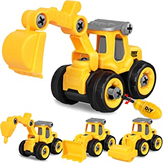 Construction Engineering Vehicle Toys 4 Pack - Take Apart Construction with Disassembly Tool, Toy Cars Gifts for Kids 3, ...