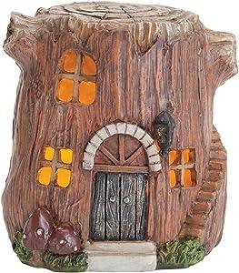 Embouts et Pieces-Small Peinte à la Main Fée de Jardin en polyrésine Maison avec lumières–Créez Votre Propre Village de fée des Bois