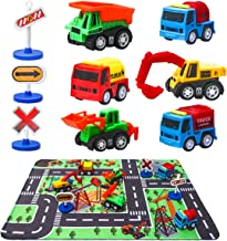 Construction Vehicle Toys with Play Mat, 6 Construction Trucks, 3 Road Signs, 14