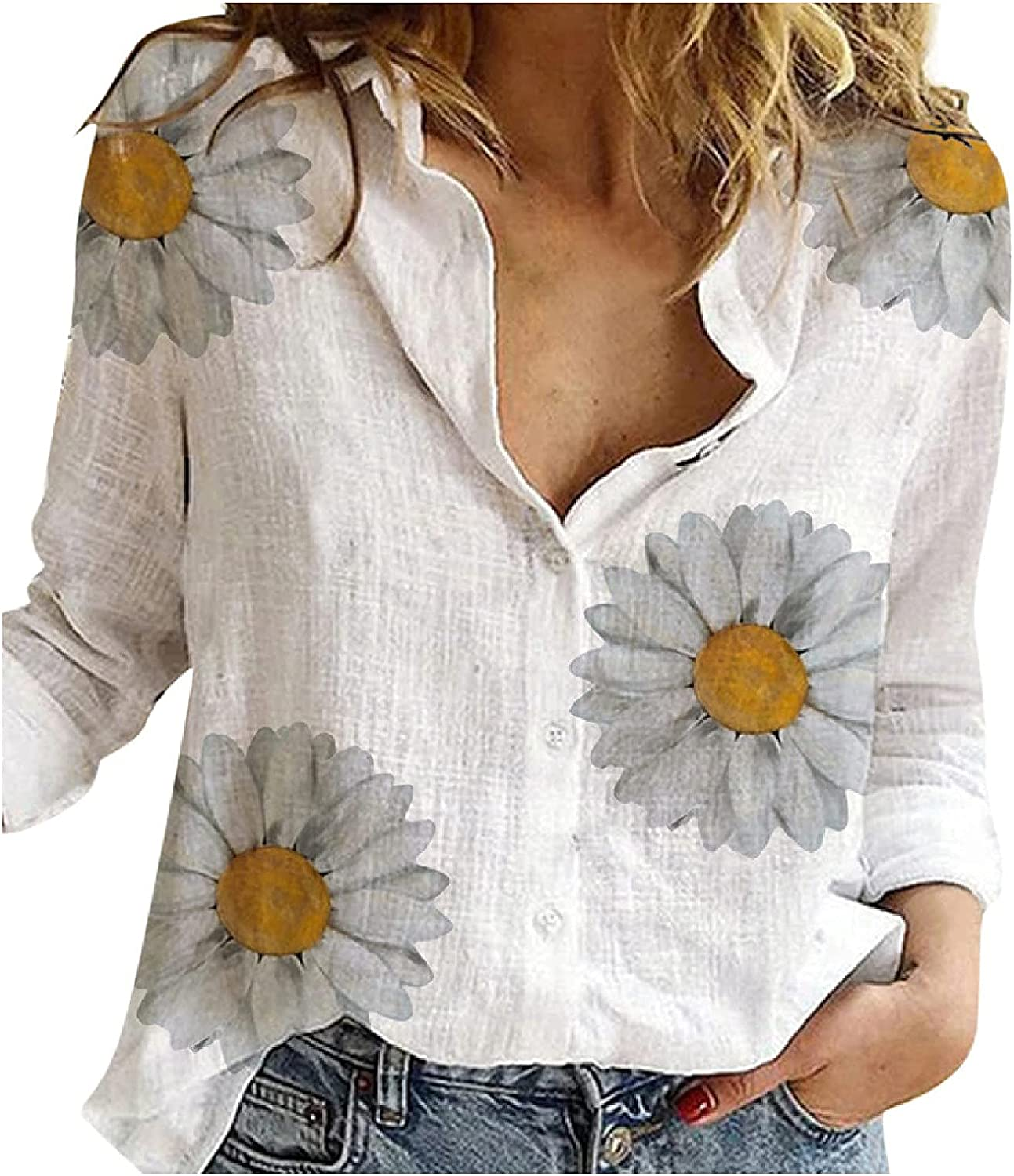 Women's Blouses Button Down Solid Long Sleeves Tops Lapel Vintage Casual Tunics Loose Comfy Shirt