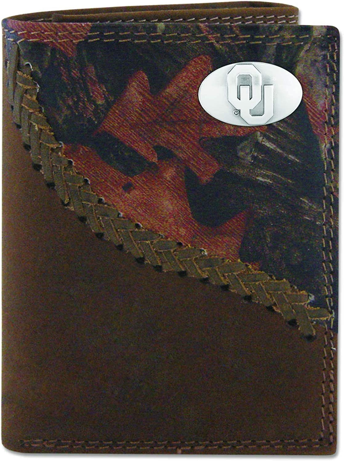 ZEP-PRO NCAA Oklahoma Sooners Pebble Trifold Max 44% OFF Conch Regular discount Leather Grain