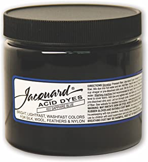 Jacquard Acid Dye for Wool, Silk and Other Protein Fibers, 8 Ounce Jar, Concentrated Powder, Sapphire Blue 622