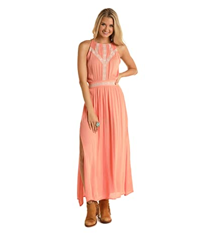 Rock and Roll Cowgirl High Neck Maxi Dress D5-5155 (Peach) Women