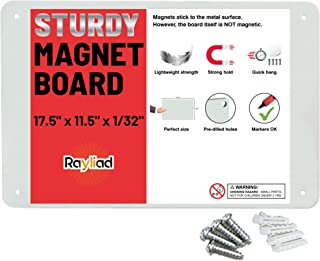 Magnetic Board – 17.5 x 11.4 Inch Metal Bulletin and Display Sheet – Pre-drilled and Includes 4 Screws