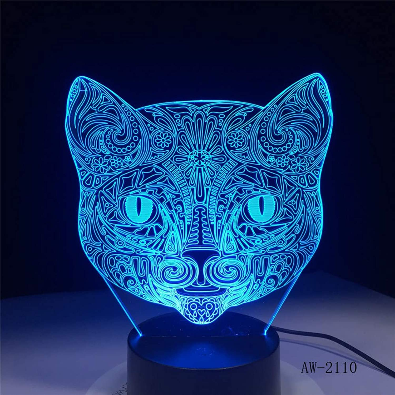 KKXXYD Big Face Cat 3D Illusion Lamp USB Led Touch Sensor Light 7 colors Remote Control Led Table Lamp Night Light