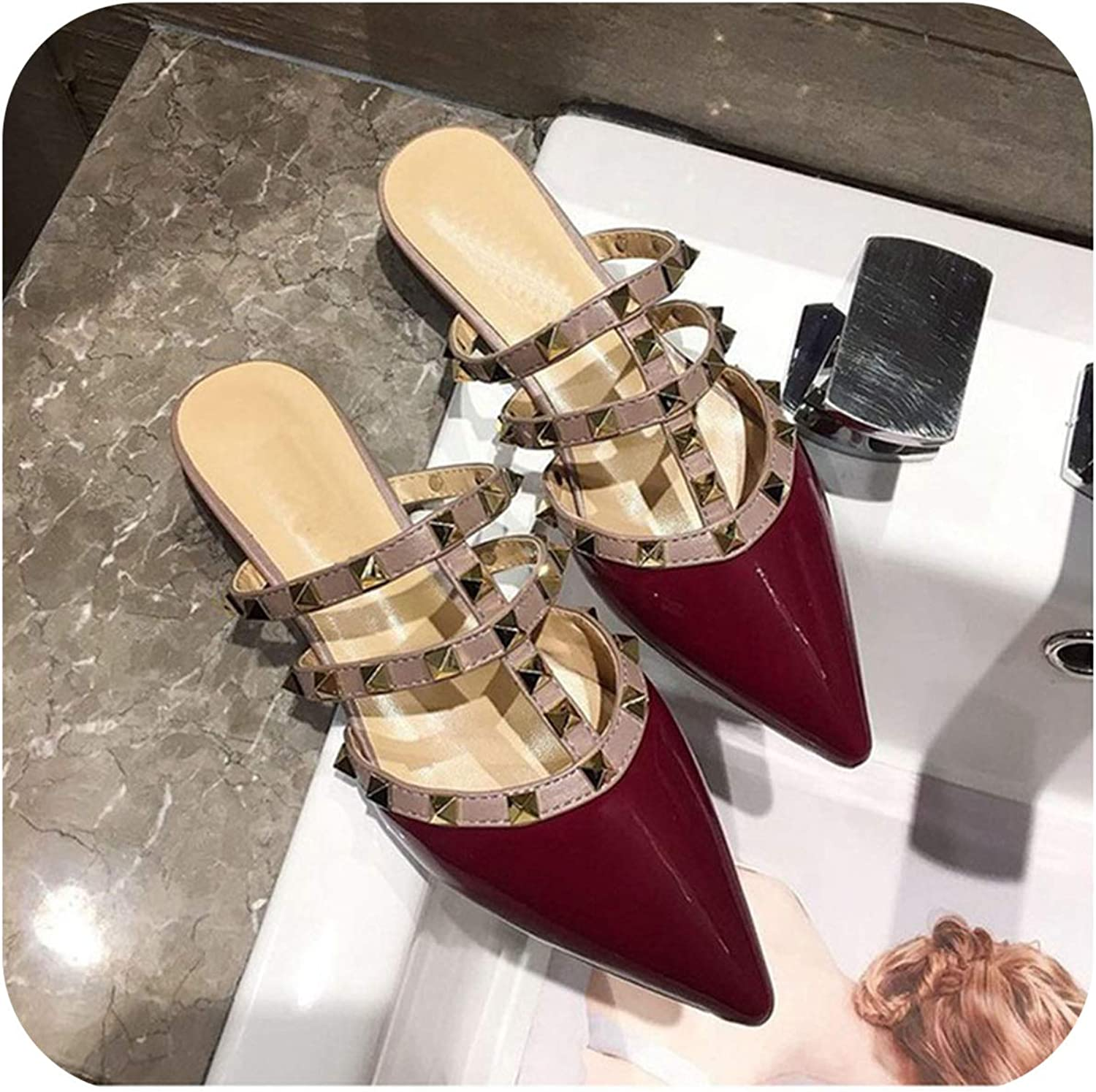 FAT BABY Big Size Women Flat Slippers Luxury Brand Mule shoes 2019 Summer Rivets Sandals