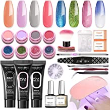 Modelones Poly Nail Gel Kit Glitter Gel Starter Kit with UV led light,7 Colors and 1 Color Changing Pot Gel,Manicure Tools...