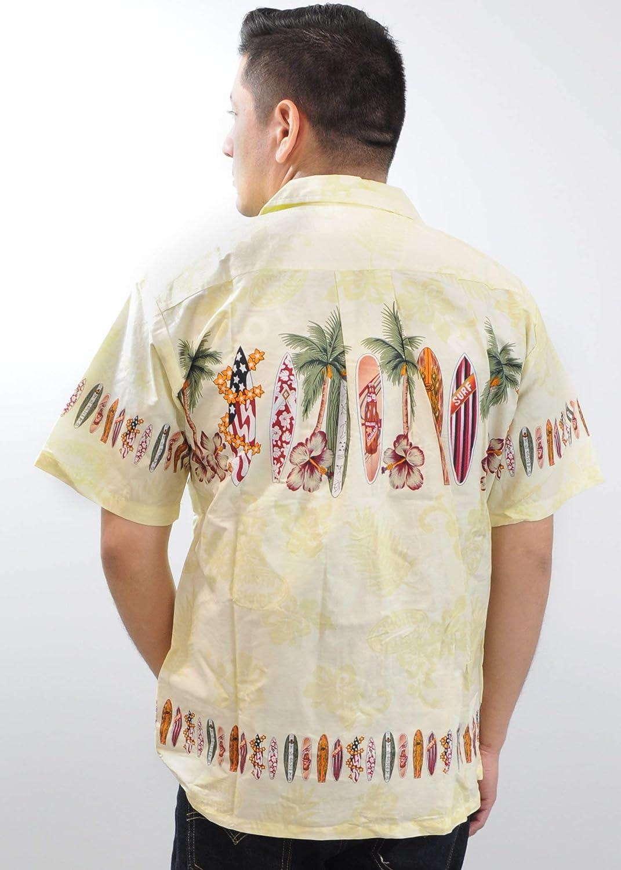 Hawaiian Vintage Tropical Aloha Shirt for Men. 100% Cotton Summer Floral Surfboard Pattern.