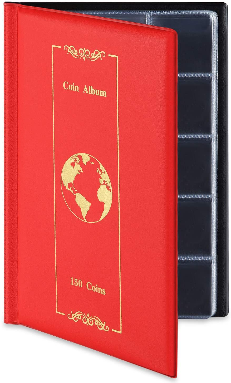 MUDOR Coin Collection Holder Album for Collectors Coin Collection Book Supplies 1.77x1.77 Inches 150 Pockets Red